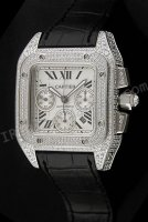 Cartier Santos 100 Chronograph Diamonds Swiss Replica Watch