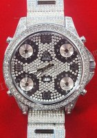 Jacob & Co Five Time Zone Full Size, Diamonds Steel Braclet Replica Watch